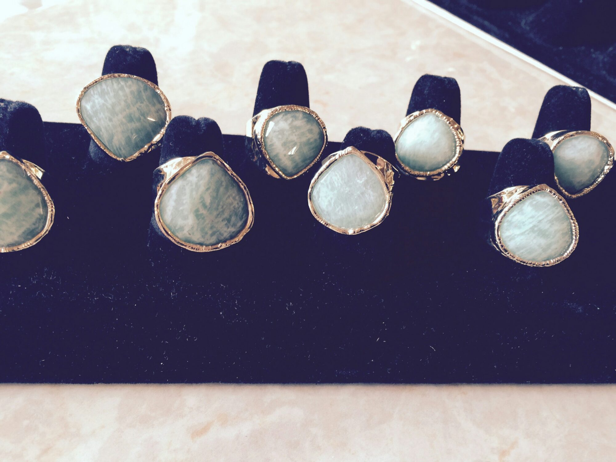 gold amazonite rings products ring size danny piece pack set clad bezel